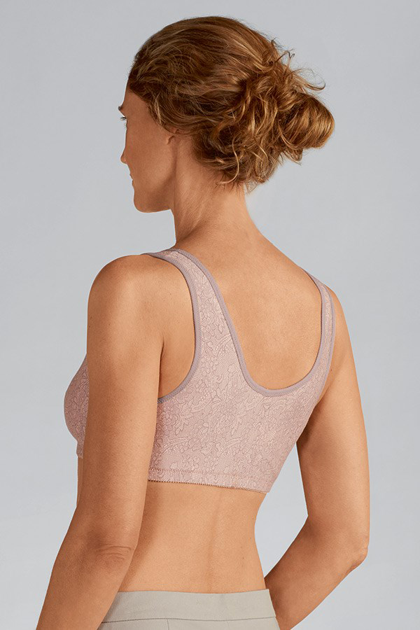 Frances Non-Wired Front Closure Bra / Taupe Lace / Back View
