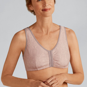 Frances Non-Wired Front Closure Bra / Taupe Lace / Front View