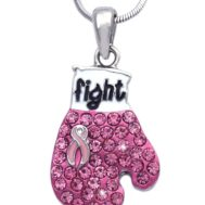 Pink Ribbon Fight Against Breast Cancer Boxing Glove Pendant Necklace